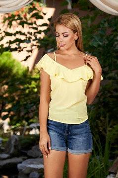 Yellow casual top shirt with straps flared with ruffles on the chest naked shoulders
