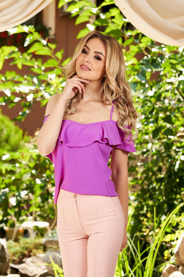 Fuchsia casual top shirt with straps flared with ruffles on the chest naked shoulders