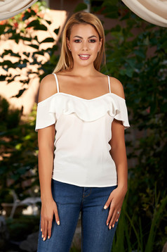 White casual top shirt with straps flared with ruffles on the chest naked shoulders