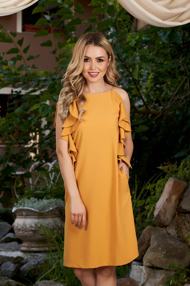 Mustard dress daily short cut a-line with pockets with ruffle details with rounded cleavage