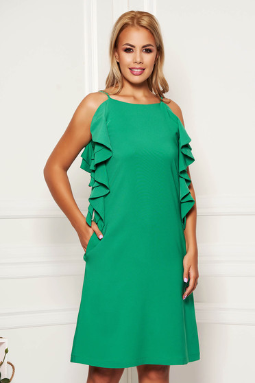 Green dress daily short cut a-line with pockets with ruffle details with rounded cleavage