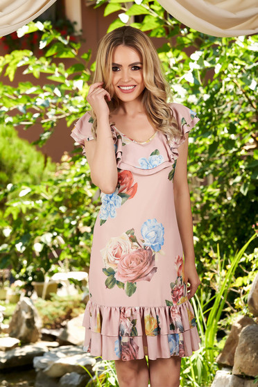 Lightpink dress daily short cut straight from veil fabric with floral print with rounded cleavage