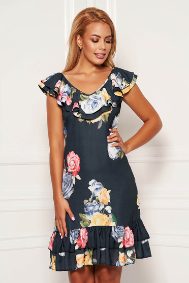 Black dress daily short cut straight from veil fabric with floral print with rounded cleavage