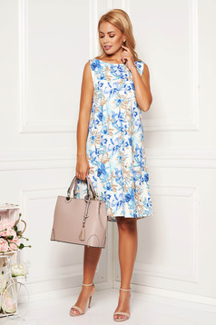 StarShinerS blue dress daily short cut a-line with floral print sleeveless neckline