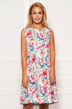 StarShinerS pink dress daily short cut a-line with floral print sleeveless neckline