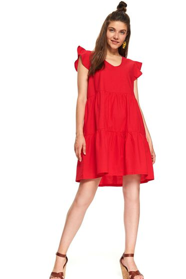 Red dress casual short cut cotton with puffed sleeves