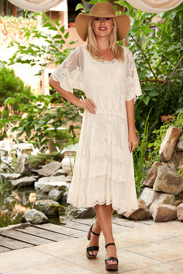 Cream dress casual beach wear short sleeves flared laced midi