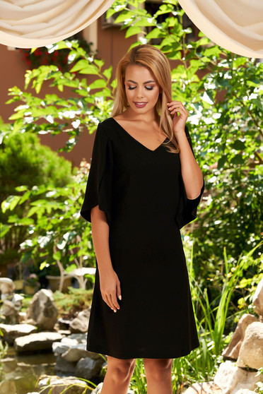 Black dress daily short cut straight with pockets with v-neckline with cut-out sleeves