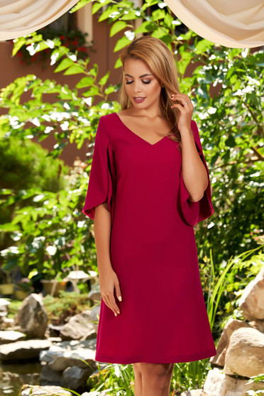 Fuchsia dress daily short cut straight with pockets with v-neckline with cut-out sleeves