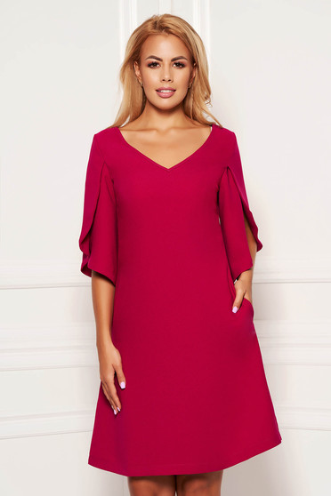 Short cut elegant fuchsia dress straight with pockets with v-neckline with cut-out sleeves