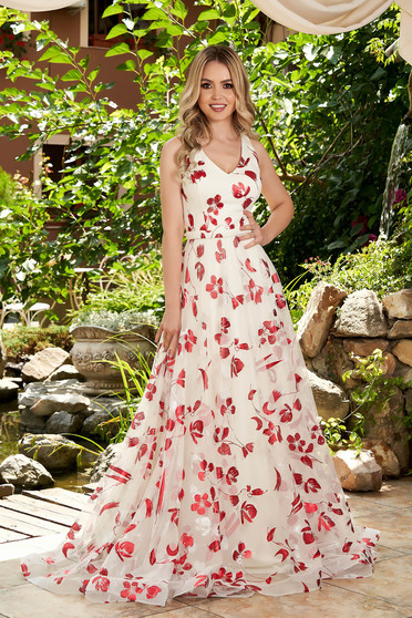 Burgundy dress occasional long from tulle with floral print with push-up cups