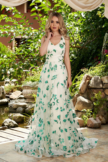 Green dress occasional long from tulle with floral print with push-up cups