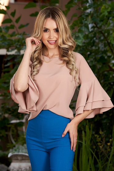 Cream women`s blouse elegant flared with bell sleeve with rounded cleavage from veil fabric