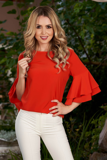 Coral women`s blouse elegant flared with bell sleeve with rounded cleavage from veil fabric