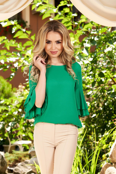 Green women`s blouse elegant flared with bell sleeve with rounded cleavage from veil fabric