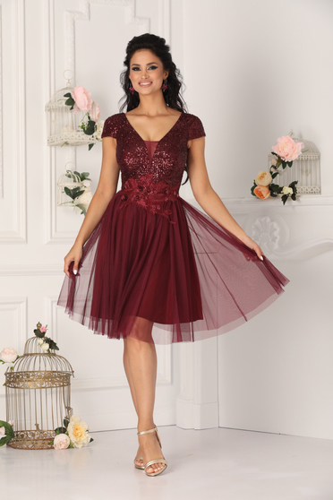 Burgundy dress occasional short cut from tulle with push-up cups with v-neckline short sleeves