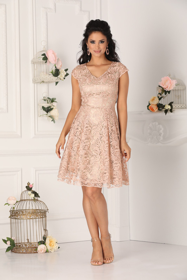 Lightpink dress occasional short cut laced with v-neckline short sleeves