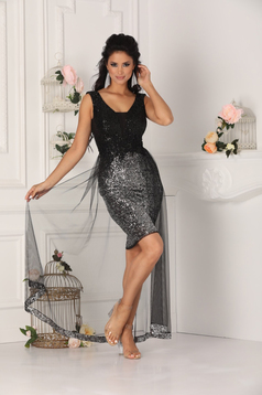 Black dress occasional short cut pencil with push-up cups with v-neckline sleeveless lace and sequins details