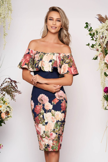 StarShinerS blue midi pencil dress off-shoulder soft fabric with floral print