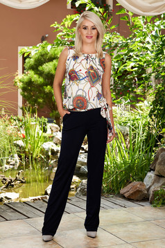 Darkblue jumpsuit elegant long with pockets detachable cord sleeveless with rounded cleavage
