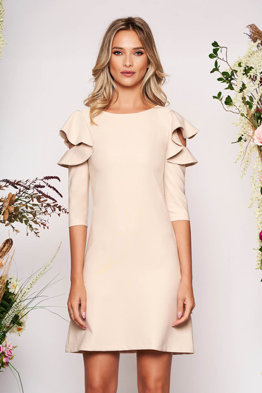 Nude daily elegant a-line dress slightly elastic fabric with ruffled sleeves