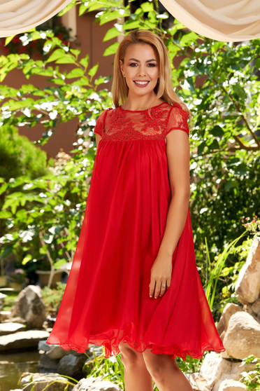 Red dress short cut cloche daily airy fabric short transparent sleeves