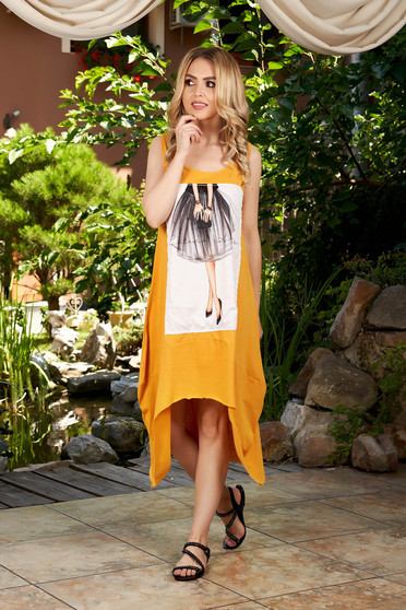 Mustard dress casual midi asymmetrical cotton with graphic details sleeveless