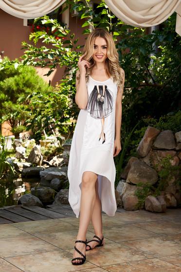 White dress casual midi asymmetrical cotton with graphic details sleeveless