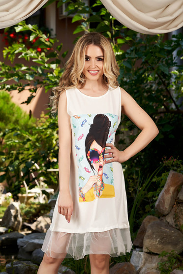 White dress casual a-line sleeveless with graphic details