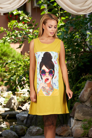 Khaki dress casual a-line sleeveless with graphic details