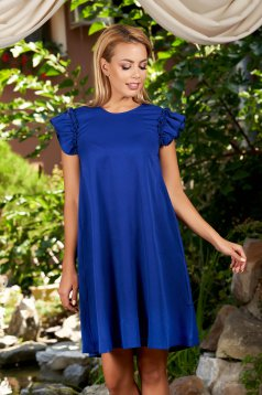 Blue dress with easy cut with ruffled sleeves daily short sleeves short cut