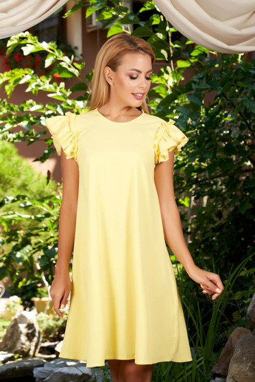 Yellow dress with easy cut with ruffled sleeves daily short sleeves short cut