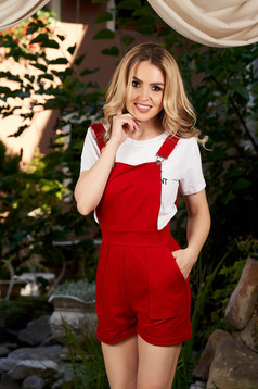 Red jumpsuit casual short cut cotton flared adjustable straps