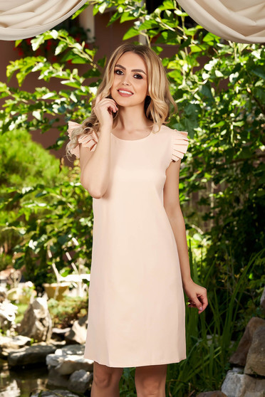 Lightpink dress daily short cut flared short sleeves with rounded cleavage