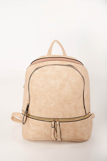 Cream casual backpacks from ecological leather adjustable straps with zipper