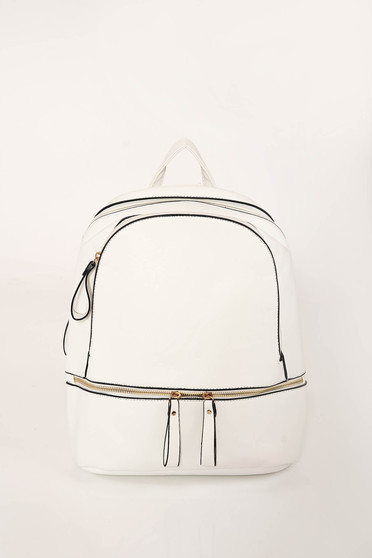 White casual backpacks from ecological leather adjustable straps with zipper