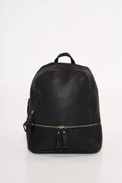 Black casual backpacks from ecological leather adjustable straps with zipper