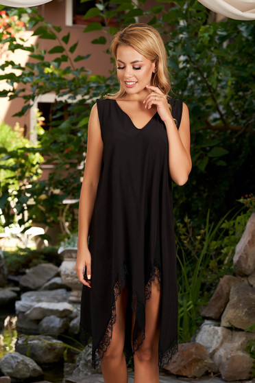 StarShinerS black dress beach wear asymmetrical with lace details