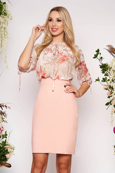 Pencil midi lightpink elegant dress with 3/4 sleeves with floral print from veil fabric