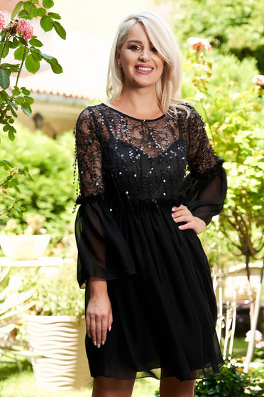 Black dress occasional short cut cloche laced from veil fabric with bell sleeve waist pleats
