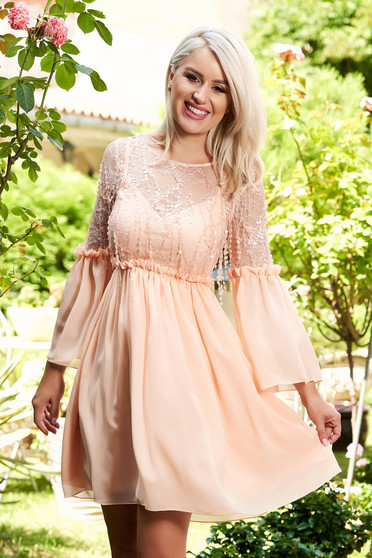 Peach dress occasional short cut cloche laced from veil fabric with bell sleeve waist pleats