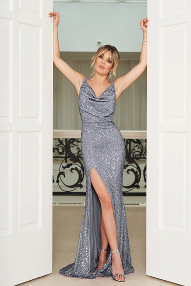 StarShinerS silver occasional mermaid cut dress with tented cut with sequins with a cleavage with braces