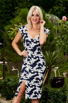 StarShinerS darkblue dress daily midi pencil with deep cleavage with rounded cleavage frilly straps frontal slit