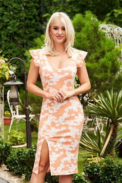 StarShinerS orange dress daily midi pencil with deep cleavage with rounded cleavage frilly straps frontal slit