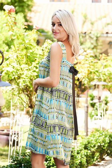StarShinerS green dress elegant short cut flared sleeveless little bow at the back neckline