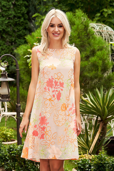 StarShinerS orange dress elegant short cut flared sleeveless little bow at the back neckline
