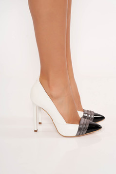 Ivory shoes elegant natural leather with high heels slightly pointed toe tip