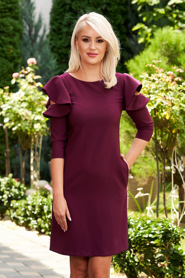 Raspberry daily elegant a-line dress slightly elastic fabric with ruffled sleeves
