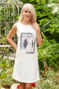 Ivory dress daily short cut a-line cloth with pockets sleeveless with graphic details