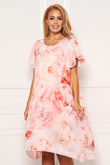 Lightpink dress daily midi from veil fabric with rounded cleavage with butterfly sleeves with floral print